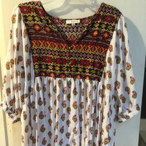 Umgee Floral Print Peasant Tunic - 1X